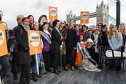 © Licensed to London News Pictures. 05/03/2017. LONDON, UK.  Celebrities and feminist activists take part in the March4Women, organised by CARE International to mark International Women's Day. The Women's Day March begins at The Scoop near City Hall, before proceeding over Tower Bridge and finishing at the Tower of London. Photo credit: Vickie Flores/LNP
