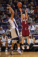 Santa Clara guard Chandice Cronk (3) hits a three pointer in the first half over Kansas State forward Marlies Gipson (51) at Bramlage Coliseum in Manhattan, Kansas, December 15, 2006.  K-State defeated Santa Clara 76-52.<br />