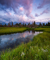One of the many views of the Teton mountains in Grand Teton National Park from Schwabacher Landing at sunrise.