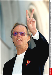 File photo - © Lionel Hahn/ABACA. 51582-1. Los Angeles-CA-USA, October 22 2003. Peter Fonda is honored with the 2,241st star on the Hollywood Walk of Fame in front of the Roosevelt Hotel. Peter Fonda, the star, co-writer and producer of the 1969 cult classic Easy Rider, has died at the age of 79. Peter Fonda was part of a veteran Hollywood family. As well as being the brother of Jane Fonda, he was also the son of actor Henry Fonda, and father to Bridget, also an actor.