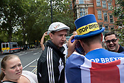 Anti Brexit protester Steve Bray has his hat taken and thrown away by Leave protesters in Westminster on the day that Parliament reconvenes after summer recess to debate and vote on a bill to prevent the UK leaving the EU without a deal at the end of October, on 3rd September 2019 in London, England, United Kingdom. Today Prime Minister Boris Johnson will face a showdown after he threatened rebel Conservative MPs who vote against him with deselection, and vowed to aim for a snap general election if MPs succeed in a bid to take control of parliamentary proceedings to allow them to discuss legislation to block a no-deal Brexit.