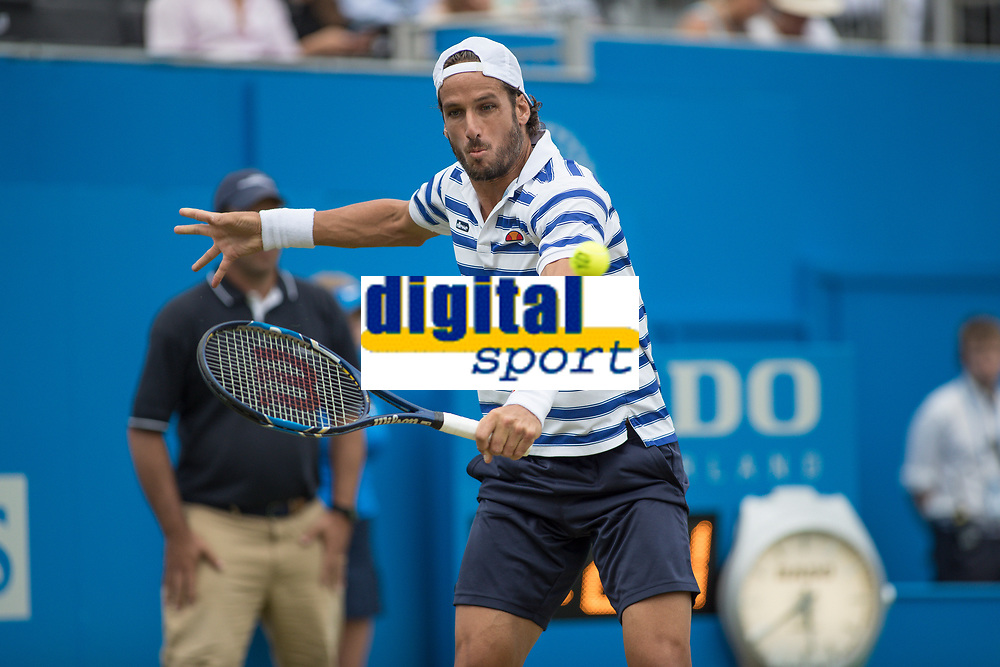 Tennis - 2017 Aegon Championships [Queen's Club Championship] - Day Four, Thursday <br /> <br /> Men's Singles: Round of 16 - Daniil MEDVEDEV (RUS) Vs Thanasi KOKKINAKIS (AUS)<br /> <br /> Feliciano Lopez (SPA) returns serve on the centre court at Queens Club<br /> <br /> COLORSPORT/DANIEL BEARHAM