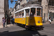 The famous number 28 tram route, mid-route near Praca do Commercio, in Lisbon, Portugal.