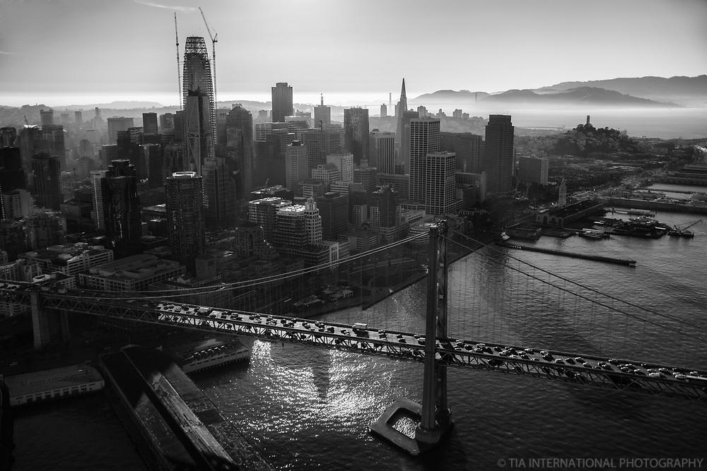 Bay Bridge & Downtown San Francisco (monochrome)