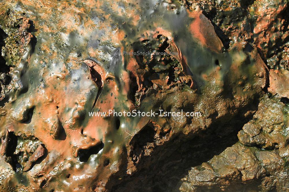 Deildartunguhver, hot spring, Iceland close up of iron oxide deposit