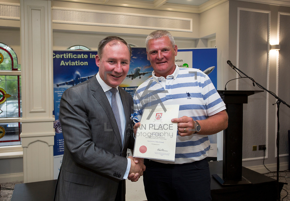 24.05.2018.       <br /> The Limerick Institute of Technology with Atlantic Air Adventures and funding from the Aviation Skillnet presented over forty certificates to Aviation professionals who have completed the Certificate in Aviation, The Aircraft Records Technician Level 7 and Part 21 Design, Level 7.<br /> <br /> Pictured at the event was Jim Gavin, The Irish Aviation Authority and Manager of the Dublin Football Team who presented, Martin Morrissy with their cert.<br /> <br /> LIT in partnership with Atlantic Air Adventures, CAE Parc Aviation, Part 21 Design and industry experts such as Anton Tams, GECAS, Don Salmon, CAE Parc Aviation and Mick Malone, Part 21 Design have developed and deliver these key training programmes with funding for aviation companies provided by The Aviation Skillnet.<br /> <br /> . Picture: Alan Place