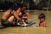 DAYAK, MALAYSIA. Sarawak, Borneo, South East Asia. Dayak, 'Kenyah', women and boy washing in the river. Tropical rainforest and one of the world's richest, oldest eco-systems, flora and fauna, under threat from development, logging and deforestation. Home to indigenous Dayak native tribal peoples, farming by slash and burn cultivation, fishing and hunting wild boar. Home to the Penan, traditional nomadic hunter-gatherers, of whom only one thousand survive, eating roots, and hunting wild animals with blowpipes. Animists, Christians, they still practice traditional medicine from herbs and plants. Native people have mounted protests and blockades against logging concessions, many have been arrested and imprisoned.