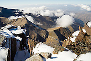 Views of the surrrounding mountains from the summit of Mulhacen in Sierra Nevada National Park, Andalusia, Spain. Mulhacen is the highest mountain in continental Spain and in the Iberian Peninsula.