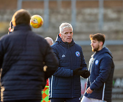 Forfar Athletic's manager Jim Weir at the end. Forfar Athletic 3 v 2 Raith Rovers, Scottish Football League Division One played 27/10/2018 at Forfar Athletic's home ground, Station Park, Forfar.