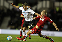 Derby County's Jeff Hendrick  battles with  Charlton Athletic's Michael Morrison ..Football - npower Championship - Derby County v Charlton Athletic  - Tuesday 18th September 2012 - Pride Park - Derby..