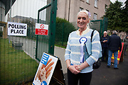 Kelly MacDonald, YES campaigner. Scottish referendum in Edinburgh. All through out the day a huge number of voters turned out asll over Scotland to vote in the independence referendum. The polls were open from 7am till 10pm and the count went on through-out the night with the final results announced early in the following morning.