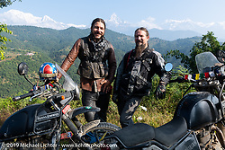 Talk Shop Podcaster Danger Dan and Led Sled's Pat Patterson at a chai stop during Motorcycle Sherpa's Ride to the Heavens motorcycle adventure in the Himalayas of Nepal. On the third day of riding, we went from Pokhara to Kalopani. Wednesday, November 6, 2019. Photography ©2019 Michael Lichter.