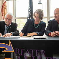 GGEDC State Land Office signing with Gallup Mayor  Jackie McKinney, left, State Land Commissioner Stephanie Garcia Richard, center, and County Commissioner Bill Lee, right, Monday May 6, at the McKinley County Courthouse in Gallup.
