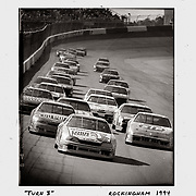 Terry Labonte leads the field into turn 3 with Jeff Gordon close behind during the 1994 AC-Delco 500 at Rockingham. ©Travis Bell Photography