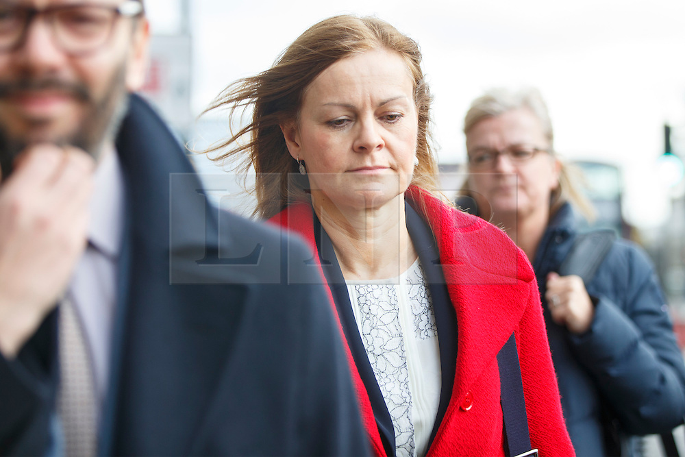 © Licensed to London News Pictures. 22/02/2017. London, UK. CAROLE WOODHEAD, CEO Hermes UK Ltd leaves after the Work and Pensions Committee at Portcullis House as representatives from Uber, Amazon, Deliveroo and Hermes were asked to inform the Work and Pensions Committee in London on 22 February 2017. Photo credit: Tolga Akmen/LNP