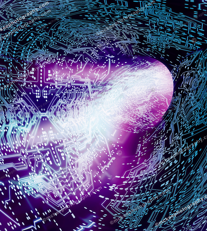 The Vortex - A Tunnel through the digital world A swirling of data in a circuitboard diagram vortex, as it courses through the internet at blazing speeds, zooming through tunnels of information. It is the information super highway. But, do you believe everything you read?