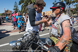 3,400 miles from the Atlantic to the Pacific - The journey is over. Chopper Dave Monson of California riding his 1914 Harley-Davidson crosses the finish line of the Motorcycle Cannonball Race of the Century. Stage-15 ride from Palm Desert, CA to Carlsbad, CA. USA. Sunday September 25, 2016. Photography ©2016 Michael Lichter.