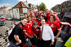 The u21 side pose during the Bristol City open top bus parade to celebrate winning both the League 1 and Johnstone's Paint Trophy titles this season and promotion to the Championship - Photo mandatory by-line: Rogan Thomson/JMP - 07966 386802 - 04/05/2015 - SPORT - FOOTBALL - Bristol, England - Bristol City Bus Parade.