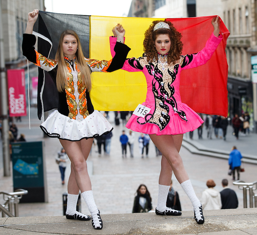 """Belgian Irish Dancers sisters Megane, left (19) and Alicia Bellemans right(16) get to Glasgow for The 46th annual World Irish Dancing Championships at the Glasgow Royal Concert Hall from March 20th- 27th 2016. The girls from Brussels are the first Belgians to have qualified for the Championships and were not letting the terrorist  attack and airport closures and transport problems beat them to fulfil their passion to compete at Irish Dancing. Alicia said """" We have to do what we love. We won't stop, they won't stop our passion for Irish dancing, we are afraid, but we fight"""". Alicia had to be in Glasgow for her dance slot at 12.30. She has been on the move since 2am and finally got here via Amsterdam.  Picture Robert Perry 23rd March 2016<br /> <br /> Must credit photo to Robert Perry<br /> FEE PAYABLE FOR REPRO USE<br /> FEE PAYABLE FOR ALL INTERNET USE<br /> www.robertperry.co.uk<br /> NB -This image is not to be distributed without the prior consent of the copyright holder.<br /> in using this image you agree to abide by terms and conditions as stated in this caption.<br /> All monies payable to Robert Perry<br /> <br /> (PLEASE DO NOT REMOVE THIS CAPTION)<br /> This image is intended for Editorial use (e.g. news). Any commercial or promotional use requires additional clearance. <br /> Copyright 2014 All rights protected.<br /> first use only<br /> contact details<br /> Robert Perry     <br /> 07702 631 477<br /> robertperryphotos@gmail.com<br /> no internet usage without prior consent.         <br /> Robert Perry reserves the right to pursue unauthorised use of this image . If you violate my intellectual property you may be liable for  damages, loss of income, and profits you derive from the use of this image."""