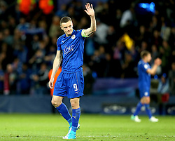Jamie Vardy of Leicester City waves to the fans after the defeat to Atletico Madrid in the UEFA Champions League Quarter-Final - Mandatory by-line: Robbie Stephenson/JMP - 18/04/2017 - FOOTBALL - King Power Stadium - Leicester, England - Leicester City v Atletico Madrid - UEFA Champions League Quarter-Final Second Leg