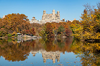 The Beresford Apartment building seen over The Lake in Central Park