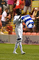 Football - 2021 / 2022 EFL Carabao Cup - Round One - Leyton Orient vs Queens Park Rangers - The Breyer Group Stadium<br /> <br /> Albert Adomah of Queens Park Rangers celebrates after scoring the winning penalty in the shoot out.<br /> <br /> COLORSPORT/Ashley Western