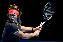November 16, 2018 - London, United Kingdom - Alexander Zverev of Germany is pictured in action during his round robin match against John Isner of the US during Day Six of the Nitto ATP Finals at The O2 Arena on November 16, 2018 in London, England. (Credit Image: © Alberto Pezzali/NurPhoto via ZUMA Press)