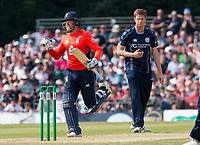 EDINBURGH, SCOTLAND - JUNE 10:  England's Jonny Bairstow reaches 100 in the second innings of the one-off ODI at the Grange Cricket Club on June 10, 2018 in Edinburgh, Scotland. (Photo by MB Media/Getty Images)