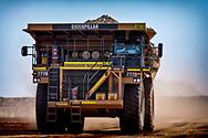 An iron ore haulage truck at a mine site in the Pilbara region of Western Australia.