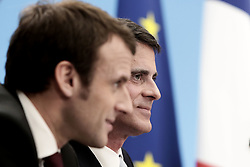 French Prime Minister Manuel Valls and Minister of Economy, Recovery of Productivity and Digital Affairs Emmanuel Macron during a press conference to present a government plan intended to accelerate investment trends and activity for a stronger growth recovery, at the Elysee Palace in Paris, France on April 8, 2015. Photo by Stephane Lemouton/ABACAPRESS.COM