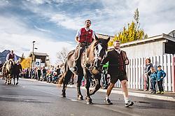 THEMENBILD - ein Schnalzer auf seinem Norika. Der Leonhardiritt ist eine Prozession zu Pferd, die zum Brauchtum im Österreich- Bayrischen- Raum zählt. Sie findet zu Ehren des hl. Leonhard statt, welcher Schutzpatron landwirtschaftlicher Tiere, Gefangener und Bergleute ist, aufgenommen am 06. November 2018, Leogang, Österreich // The Leonhardiritt is a procession by horse, which counts to the Tradition in Austria- Bavarian area. It is held in honor of St. Leonhard, which is the patron of agricultural animals, prisoners and miners on 2018/11/06, Leogang, Austria. EXPA Pictures © 2018, PhotoCredit: EXPA/ Stefanie Oberhauser