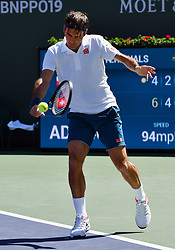 March 15, 2019 - Indian Wells, CA, U.S. - INDIAN WELLS, CA - MARCH 15: Roger Federer (SUI) returns the ball in the second set of a quarterfinals match played during the BNP Paribas Open on March 15, 2019 at the Indian Wells Tennis Garden in Indian Wells, CA. (Photo by John Cordes/Icon Sportswire) (Credit Image: © John Cordes/Icon SMI via ZUMA Press)