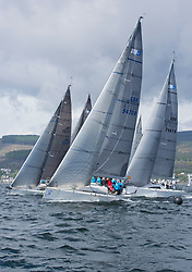 Pelle P Kip Regatta 2017 run by Royal Western Yacht Club at Kip Marina on the Clyde. <br /> <br /> RC35 Class Start, Sloop John T, Animal, Wildebeeste, with Jacob and Banshee<br /> <br /> Image Credit Marc Turner