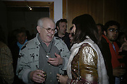 Ralph Steadman and Angelica Huston, Hunter S Thompson: Gonzo -Michael Hoppen Gallery, London, SW3, Photographs of, and by Hunter Thompson.1 February 2007.  -DO NOT ARCHIVE-© Copyright Photograph by Dafydd Jones. 248 Clapham Rd. London SW9 0PZ. Tel 0207 820 0771. www.dafjones.com.