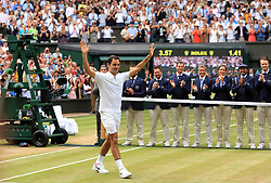 Roger Federer after beating Marin Cilic in the Gentlemen's Singles Final on day thirteen of the Wimbledon Championships at The All England Lawn Tennis and Croquet Club, Wimbledon.