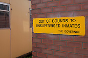 A sign on the wall in the grounds of the prison. HMP Styal, Wilmslow, Cheshire