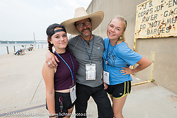 Harley-Davidson Museum Archive Restorer/Conservator Bill Rodencal of Wisconsin with daughters Willa (L) and Cassidy in Cape Girardeau during the Motorcycle Cannonball Race of the Century. Stage-5 from Bloomington, IN to Cape Girardeau, MO. USA. Wednesday September 14, 2016. Photography ©2016 Michael Lichter.