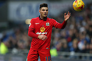Ben Marshall of Blackburn Rovers prepares to take a throw-in. Skybet football league championship match, Cardiff city v Blackburn Rovers at the Cardiff city stadium in Cardiff, South Wales on Saturday 2nd Jan 2016.<br /> pic by Andrew Orchard, Andrew Orchard sports photography.