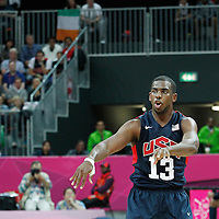31 July 2012: USA Chris Paul passes the ball during 110-63 Team USA victory over Team Tunisia, during the men's basketball preliminary, at the Basketball Arena, in London, Great Britain.