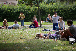 © licensed to London News Pictures. London, UK 19/06/2013. People enjoying the warmest day of the year so far in Regents Park, London. Photo credit: Tolga Akmen/LNP