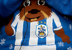 A festively dressed Huddersfield fan in the stands during the Premier League match at St Mary's, Southampton.