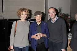 Left to right, OONA MEKAS, JONAS MEKAS and SEBASTIAN MEKAS at a dinner to celebrate the opening of the Serpentine's Gallery new exhibition of work by Jonas Mekas held at Cassis, 232-236 Brompton Road, London SW3, London on 3rd December 2012.