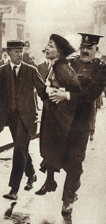 Mrs Emmeline Pankhurst (1857-1928), English suffragette, being arrested outside Buckingham Palace, London 1914