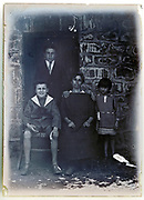 family group portrait by door opening 1924 France