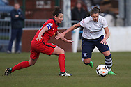 Preston Midfielder Jenna Carroll during the FA Women's Lancashire Cup Final match between Preston North End Ladies and Blackburn Rovers Women at the County Ground, Leyland, United Kingdom on 28 April 2016. Photo by Pete Burns.