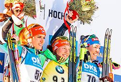 15.02.2017, Biathlonarena, Hochfilzen, AUT, IBU Weltmeisterschaften Biathlon, Hochfilzen 2017, Damen, Einzel, Flower Zeremonie, im Bild Silbermedaillengewinnerin Gabriela Koukalova (CZE), Goldmedaillengewinnerin Laura Dahlmeier (GER), Bronzedemaillengewinnerin Alexia Runggaldier (ITA) // Silver Medalist Gabriela Koukalova of Czech Republic Winner and 3rd time World Champion Laura Dahlmeier of Germany and Bronze Medalist Alexia Runggaldier of Italy during Flower Ceremony of the individual women the IBU Biathlon World Championship at the at the Biathlonarena in Hochfilzen, Austria on 2017/02/15. EXPA Pictures © 2017, PhotoCredit: EXPA/ JFK