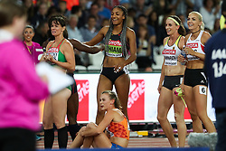 London, 2017 August 06. New Women's heptathlon world champion Nafissatou Thiam Of Belgium celebrates her win on day three of the IAAF London 2017 world Championships at the London Stadium. © Paul Davey.