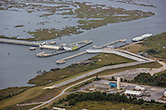 """Aerial view of The """"Great Wall"""" of Louisiana, built after Hurricane Katrina to protect New Olreans."""