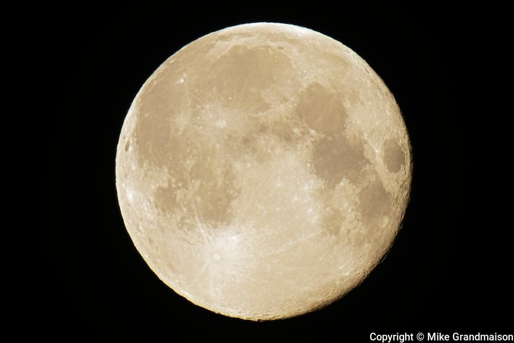 Full moon. Super moon. February 20, 2019.<br />Winnipeg<br />Manitoba<br />Canada