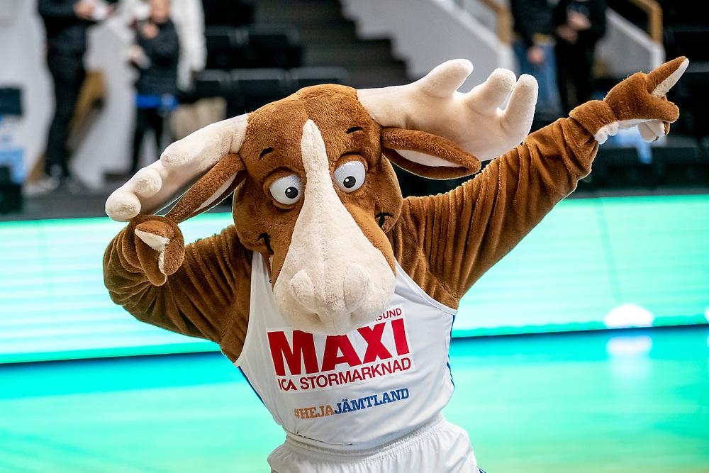 ÖSTERSUND 20191031<br /> Jämtlands maskot Bruce the Moose  under torsdagens match i basketligan mellan Jämtland Basket och Umeå BBK i Östersunds Sporthall.<br /> <br /> Foto: Per Danielsson/Projekt.P